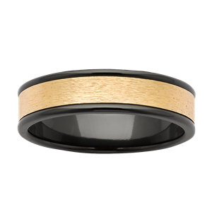 <p>Black Zirconium and yellow gold band</p>
