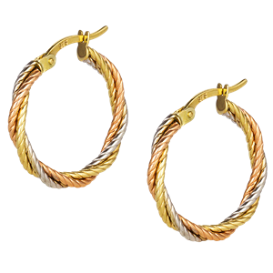 <p>9ct tri gold Twisted Oval Hoop Earrings</p>