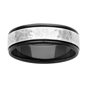 7mm Black Zirconium and Hammered Sterling Silver Ring