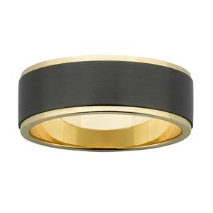 8mm wide polished Yellow Gold band with raised, and sanded, Black Zirconium centre.