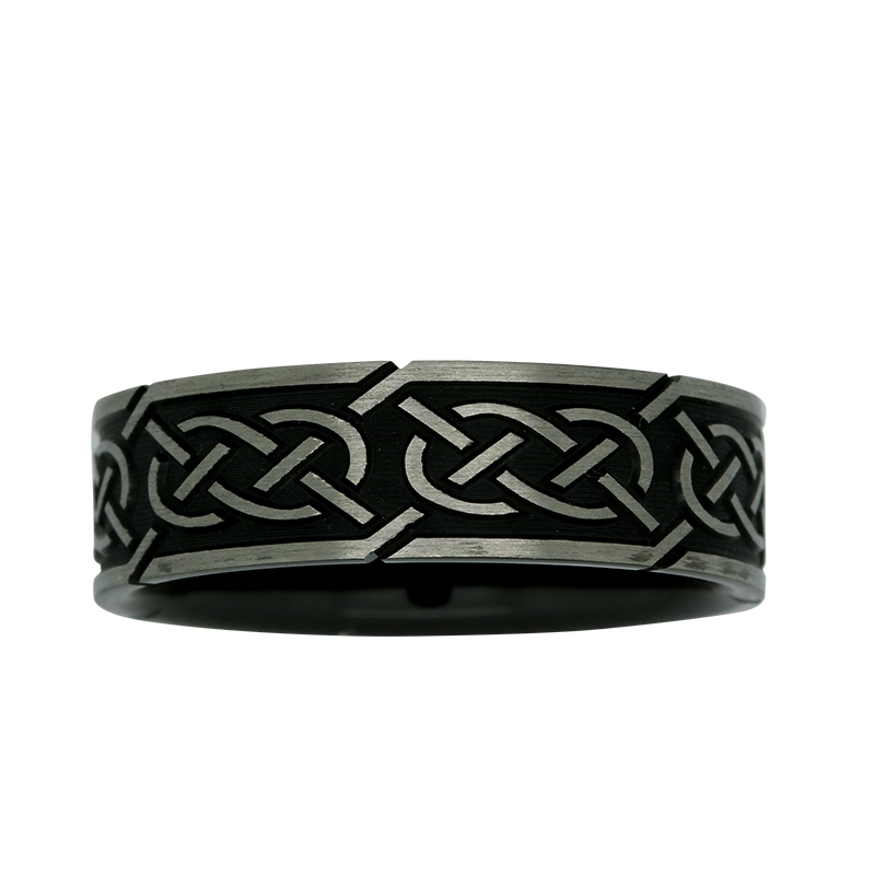 7mm Black & White ZiRO Celtic Ring