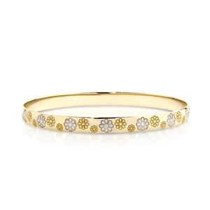 <p>Solid Bangle, half round profile. Machine Engraved Floral Pattern with Rhodium Plated Flowers.</p>