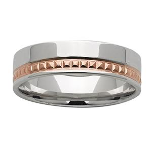 <p>6mm White & Rose Gold Patterned ring</p>