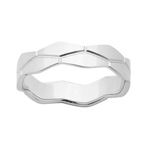 <p>9ct White Gold 5mm Patterned Polished Stacker Ring</p>