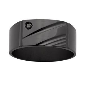<p>ZiRO Black Diamond Signet Ring</p>