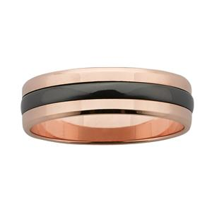 6mm wide polished Rose Gold band with Black Zirconium centre.