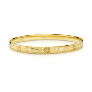 <p>Solid bangle, half round profile. Machine &amp; hand engraved , grain set with 8 x .02ct diamonds. Total diamond weight 0.16ct Approx. Approx. 1.6mm thick, 9ct approx weight 16.7gms, 65mm diameter</p>