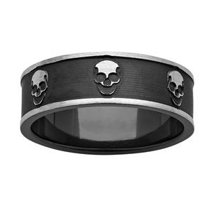 7mm Black & White 'Skull' Zirconium Ring