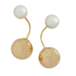 <p>9ct yellow gold Tribal Earrings with pearls</p>