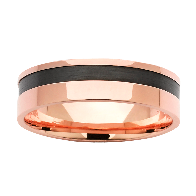 <p>Black Zirconium and gold band</p>