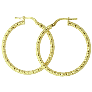 <p>9ct yellow gold Silver Filled Faceted Hoop Earrings</p>