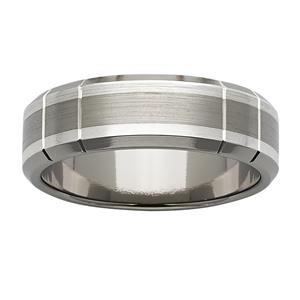 <p>7mm Titanium and Sterling Silver ring</p>