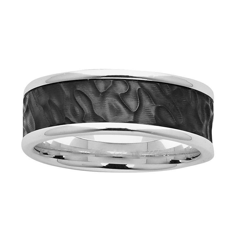 8mm Sterling Silver & Textured Black Zirconium Ring