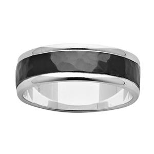 7mm Sterling Silver Ring with Hammered Black Zirconium Centre