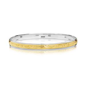 Two-tone , hand engraved bangle