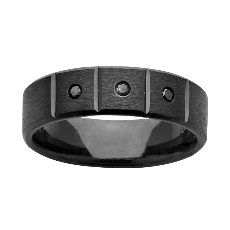 6mm Black Zirconium Ring with Black Diamonds