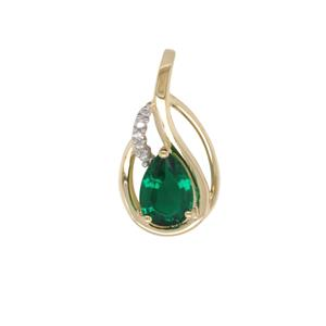 Diamond and Created Emerald Pendant in 9ct Yellow Gold