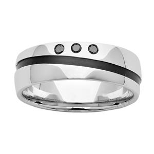 <p>7mm Sterling Silver & Black Zirconium Ring with Diamonds.</p>
