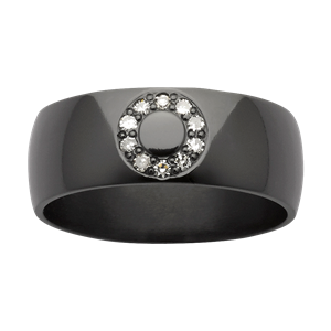 <p>Zirconium band with diamonds</p>