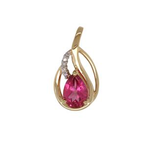 Diamond and Pink Topaz Pendant in 9ct Yellow Gold
